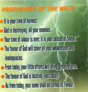 Wow! It comes complete with one prophecy for each day.